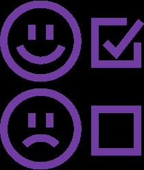 Fahrgastbefragung: Ein zufriedener und ein unzufriedener Smiley, daneben Checkboxen. Der zufriedene Smiley ist ausgewählt.